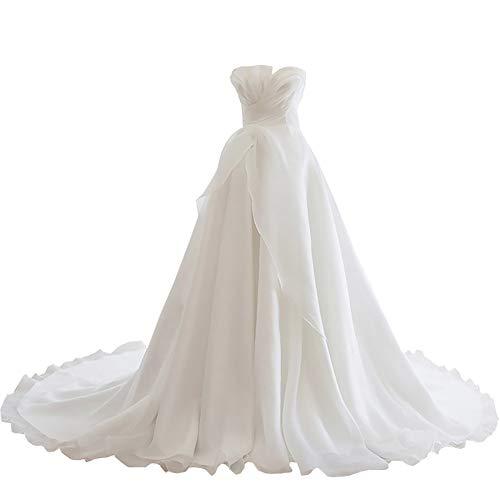 Braut Sexy Tube Top Brautkleid, Brautkleid High Waist Long Tailing, einfache Umstandskleid Hochzeitsfotos Kirche Hochzeit,ivorywhite-L
