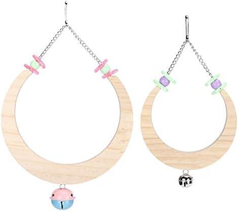 Komopesu Bird Swing Toys Manufacturer OFFicial shop 2pcs Bir 2021new shipping free Hanging Wooden Toy Semicircle