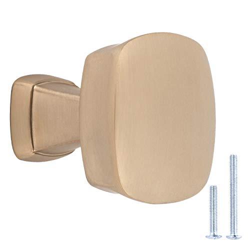 Amazon Basics - Pomo de armario, 3,2 cm de diámetro, color dorado champán, AB500-GC-10
