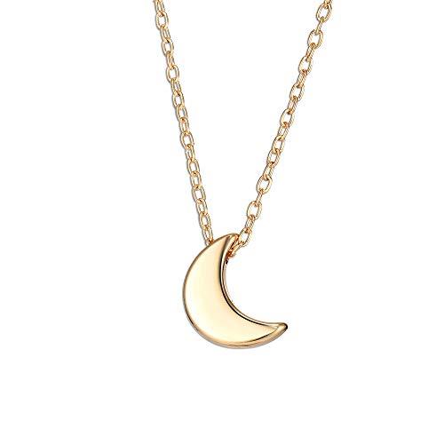 Collares con colgante de luna moda delicada cadena gargantilla joyería para mujeres y niñas (oro)