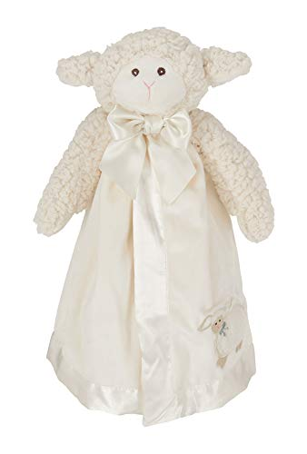 Bearington Baby Lamby Snuggler, White Lamb Plush Stuffed Animal Security Blanket, Lovey 15'