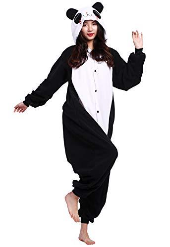 Jumpsuit Onesie Tier Karton Fasching Halloween Kostüm Sleepsuit Cosplay Overall Pyjama Schlafanzug Erwachsene Unisex Lounge, Weiß Panda, Erwachsene Größe M - für Höhe 156-167CM