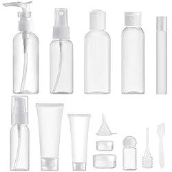 MYLL 14 Piezas Botes para Viaje Vacios (MAX.100ml) Rellenables Set Botellas de Plástico, Kit Viaje Avion para Champu, Cosmetica