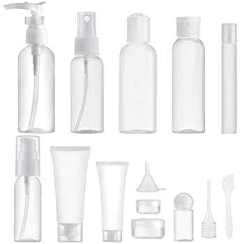Lisapack 14 PCS Travel Container for Toiletries Travel Size Bottle Set  Max 3.4oz  Empty Dispenser Kit for Traveling Makeup  Clear