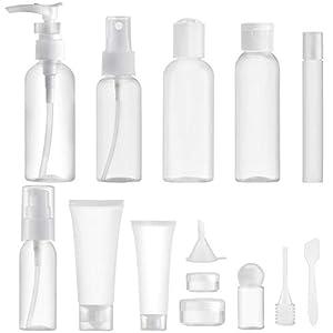 Toureal 14 Piezas Botes para Viaje Vacios (MAX.100ml) Rellenables Set Botellas de Plástico, Kit Viaje Avion para Champu, Cosmetica