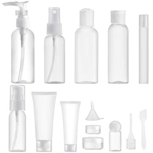 MYLL 14 Pièces Flacons Vide Kit Voyage Avion (Max.100ml), Contenant Plastique Bouteille dans Recipient, Organisateur Set de Toilette - pour Cosmetique (Transparent)