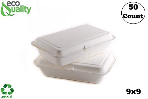 50 Count - Biodegradable 9x9 Take Out Food Containers with Clamshell Hinged Lid - Eco Friendly Sugarcane Bagasse 100% Compostable, Recyclable, Togo, Restaurant Carry Out, Party Take Home Boxes