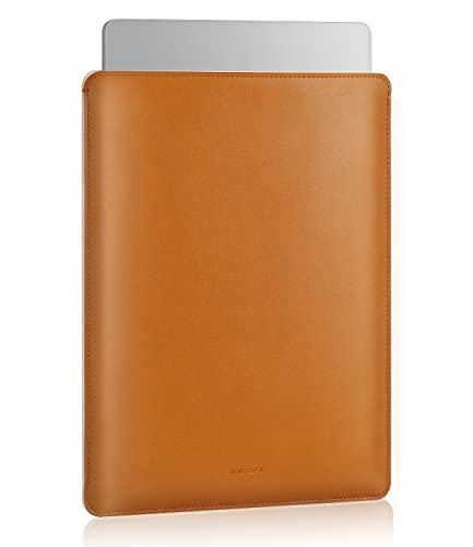 MoKo 13.3 Pulgadas Funda Ordenador Portátil, Protectora de Cuero PU Bolsa Laptop Sleeve Compatible con MacBook Air M1 13.3 2020, MacBook Pro M1 13.3 2020, Marrón