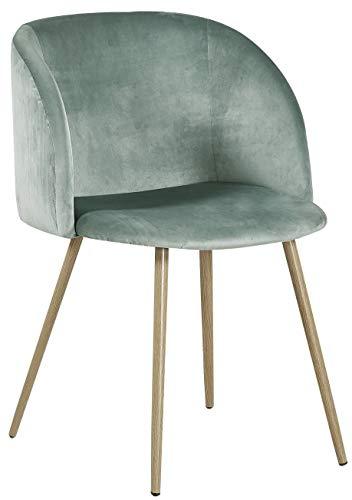 DORAFAIR Sedie da Pranzo in Velluto Vintage, Seduta e Schienale Imbottiti con Gambe in Metallo Stile Legno, Poltrona Scandinave, Verde