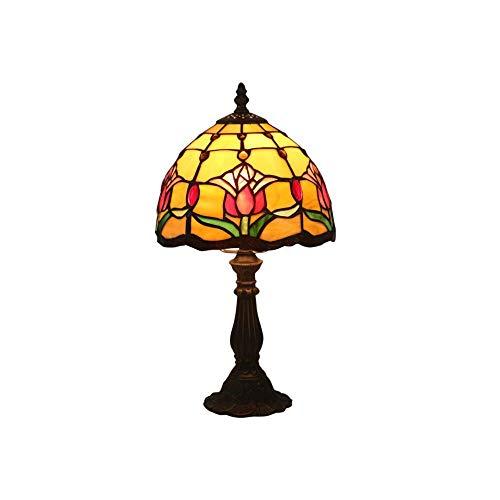 LEIKAS 8 Pulgadas Mini lámpara de Mesa pequeña Estilo Tiffany Tulip Clásicos Europeos Lámparas de Mesa de vitrales con Base de aleación de Zinc (Color Marfil