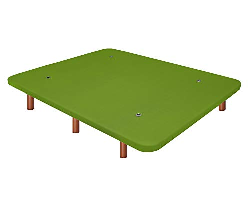 Duérmete Online Base Tapizada 3D Reforzada | Anti Ruido con 5 Barras de Refuerzo | Válvulas de Ventilación | 6 Patas Madera Color Cerezo, Verde, 135x190