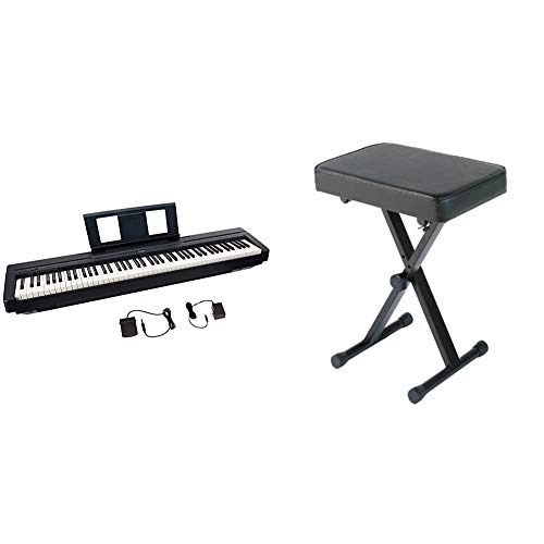 Yamaha P45, 88-Key Weighted Action Digital Piano (P45B) & PKBB1 Adjustable Padded Keyboard X-Style Bench, Black,19.5 Inches