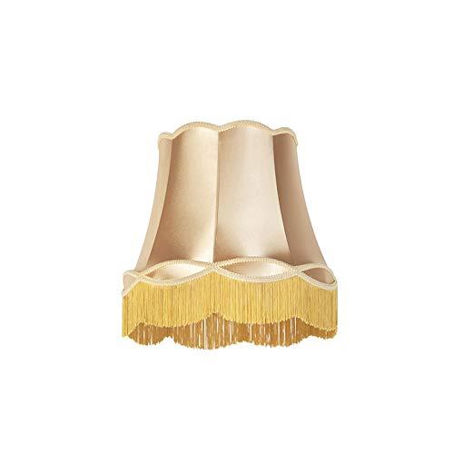 QAZQA Retro Seide Seidenlampenschirm Gold/Messing 45 cm - Granny, Rund konisch Schirm Pendelleuchte,Schirm Stehleuchte