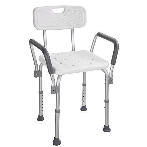 300lbs Durable & Secure 6 Level Height Adjustment Medical Tool-Free Assembly Spa Bathtub Shower Lift Chair, Portable Bath Seat, Adjustable Shower Bench, White Bathtub Lift Chair & Arms