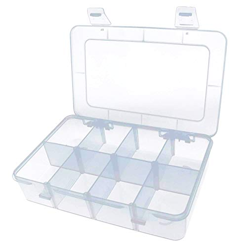 Yootop 8 Grids Hard Plastic Case with Removable Dividers for Electronics Jewelry Small Parts