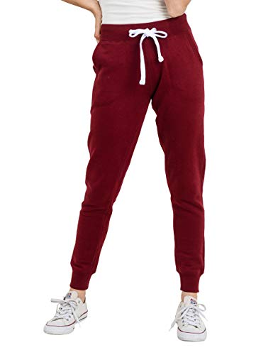 esstive Women's Ultra Soft Fleece Basic Midweight Casual Solid Jogger Pants, Burgundy, Small