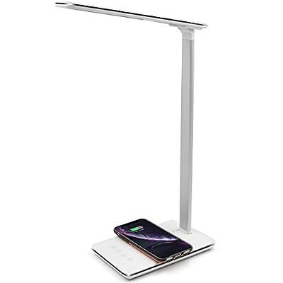 SANTALA Smart LED Desk Lamp with Wireless Charger/USB Charging Port, 4 Level Color Temperatur/10 Level Brightness, Work with Apple HomeKit/Siri/Alexa/Google Home