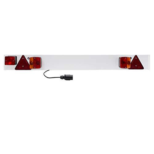 ECD Germany PKW Anhänger Lichtleiste 7-polig Stecker 137x14cm 12V 6m Kabel Anhängerbeleuchtung Beleuchtungsbalken Beleuchtungstafel Nebelschlussleuchte Rückleuchten Rücklicht Bremslicht Blinklicht