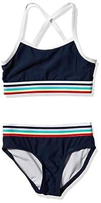 Kanu Surf Girls UPF 50+ Beach Sport Athletic Bikini Swimsuit, Tanya Navy, 12