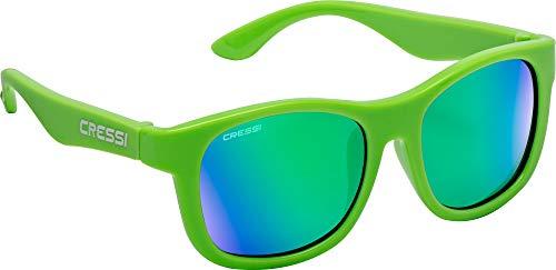 Cressi Teddy Sunglasses, Occhiali da Sole Unisex Bambino, Verde Fluo/Lenti Specchiate Verde, 3-5 Anni