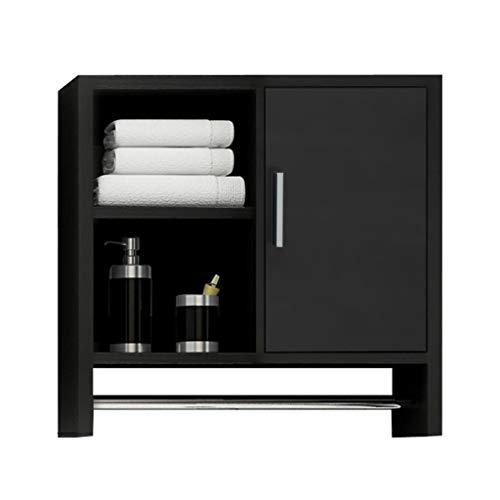 Väggskåp hörnskåp hörn förvaring kurio skåp med glasdörrar kök förvaringsskåp sovrum kosmetika hylla skåp (färg: Svart, storlek: 50 x 13 x 55 cm)