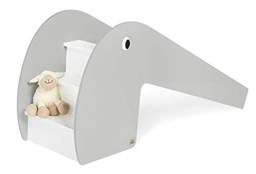 Pinolino Indoor-Rutsche Lotta aus Holz, Belastbarkeit 60 kg, mit 2 Augenaufklebern, für Kinder ab 3 Jahren, weiss/grau