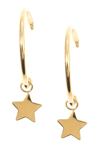 Happiness Boutique Damen Stern Creolen mit Anhängern in Goldfarbe | Kleine Runde Ohrringe Edelstahlschmuck