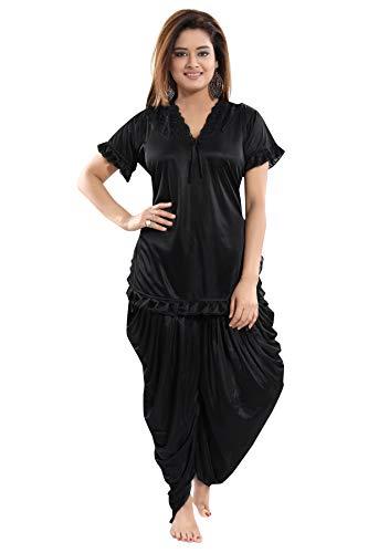 Fashigo Women's Patiala Top and Pyjama Set (Black,Free Size)