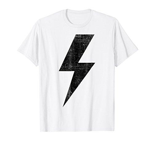 Retro Distressed Black Lightning Bolt T Shirt!