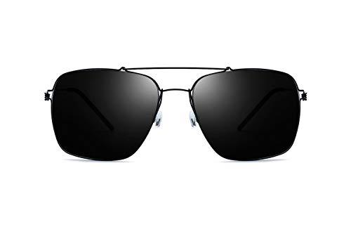 Ultraleichte schraubenlose Herren-Sonnenbrille mit Cooler Titan-Sonnenbrille mit großem Rahmen und quadratischer Polarisation für Damen (Color : Black Frame Gray Lens, Size : Normal)