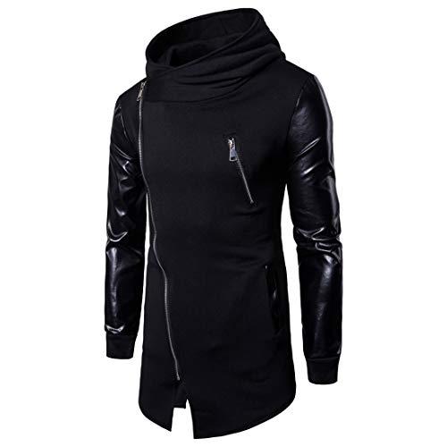 YUPENG Men's Hooded Jacket Long Sleeve Leather Stitching Sweat Jacket Tops Mens Irregular Hem Diagonal Zipper Elegant Stand-Up Collar Coat XXL