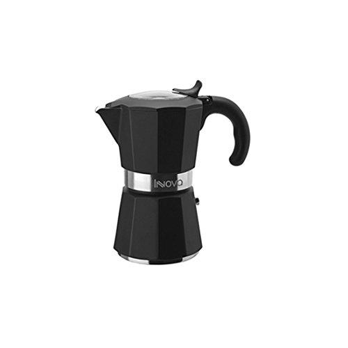 FOS7U|#Forever Coffee Innova Kaffeekanne, für 6 Tassen, Induktionsgeeignet, Aluminium, Schwarz, 18 x 10,5 x 18,5 cm