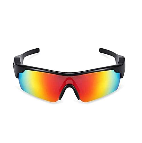 PKLG Occhiali da sole senza fili Bluetooth audio, cuffie auricolari aperte musica e chiamate in vivavoce, per uomini e donne, lenti polarizzate, sport stereo auricolare (colore: nero) (arancione)