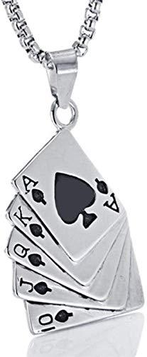 NC122 Collar Colgante Moda para Hombre Diseño Cretaive Poker para Punk Acero Inoxidable
