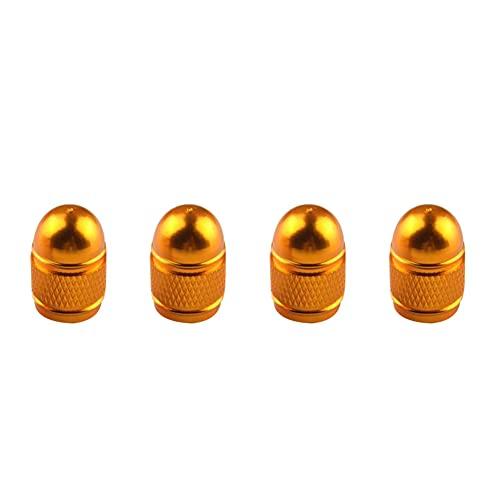 ihreesy Tapones de válvula de aleación de aluminio,4 Pcs Tapa Anti-Polvo de Rueda de Coche con Anillo de Goma Tapa de Válvula de Neumático para Automóviles SUV Bicicletas Camiones,Oro