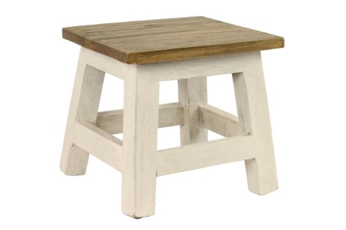 Antique Revival Goya Wood Step Stool/Accent Made of Mahogany in Chic Lightly Distressed Finish (Square Seat, for Home Use), One Size, White