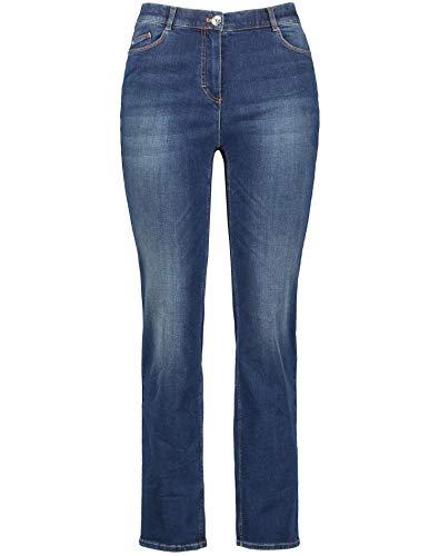 Samoon Damen 320028-21388 Straight Jeans, Blau (Dark Blue Denim 8989), (Herstellergröße: 52)