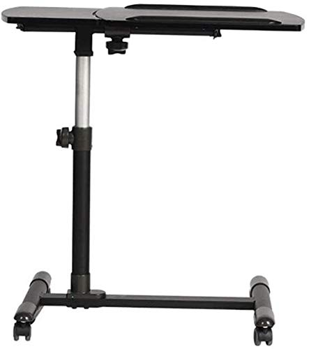 WNN-URG Mobile Laptop Table Tilting Sit-Stand Height Adjustable Mobile Laptop Computers Desk Cart with Mouse Side Ergonomic Tables WNN-URG (Color : Black)