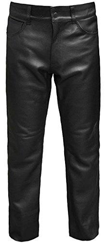 Skintan Herren Motorrad Lederhose Klassische Leder Jeanshosen Biker Jeans Schwarz - L29 W44