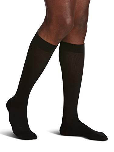 SIGVARIS Calcetines de hombre estilo Sea Island de algodón 220 con puntera cerrada de 20-30 mmHg, SG_B00OBLIGJ6_US, Negro, 1