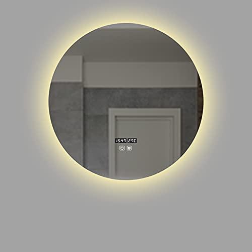 LBYDXD Espejo de Baño con Iluminación LED, Espejo de Pared con Interruptor táctil + antiempañamiento, Visualización de la Temperatura del Tiempo, Dormitorio, Sala de Estar, Porche, Muchos Tamaños