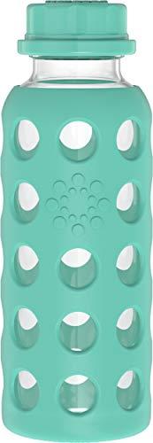 Lifefactory Botella de cristal con tapa plana, 260 ml, color verde claro