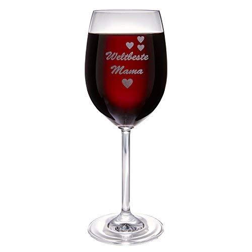 van Hoogen Leonardo Weinglas Weltbeste Mama   mit Gravur   Geschenk für Mutter   Zum Muttertag   365ml Premium-Glas Rotwein Weißwein   Beste Mama