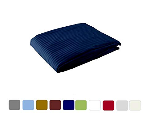 1 Piece Duvet Cover - Hotel Luxury Premium Bedding Set - Zipper Closer and Corner Ties in Comforter Cover - 500 TC 100% Cotton Material - Twin/Twin XL Size - Navy Blue Stripe