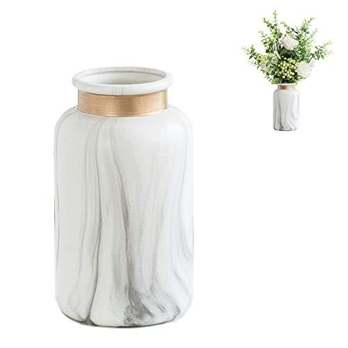 Jarrón de cerámica de mármol, borde dorado único, simplicidad moderna, decoración de sala de estar, florero decorativo para inauguración de la casa, regalo de boda, elegante decoración del hogar, regalo del día del niño, el mejor regalo (ER)