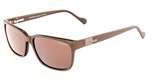 Timezone Gafas de Sol Hombre Anteojos para el Sol Apariencia de la madera DOMINICO-60 Marrón