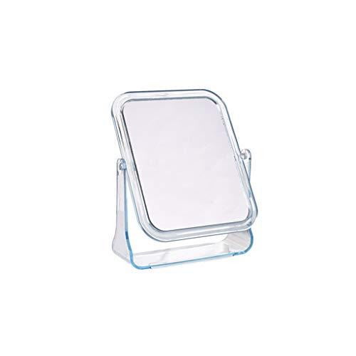 Miroir rotatif, cadre transparent Miroirs de table hommes tenant Miroir grossissant Girl Makeup Portable Mirror Taille: 20.5 * 16.7CM (Color : Blue, Size : 20.5 * 16.7CM)