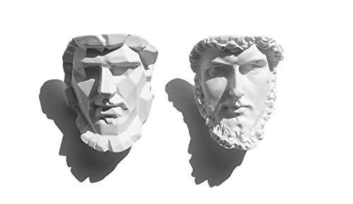 anaan Sculpture Imanes Nevera Magnética Alexander The Great Head Face (Juego de 2) de Resina, óptica de Yeso Imán para Pizarras Blancas calendarios Refrigerador Diseño Decoración