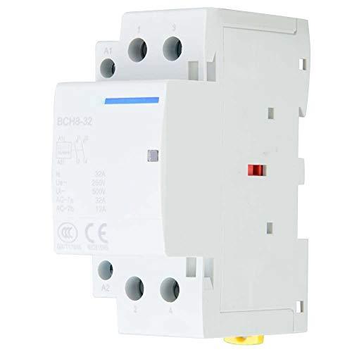 Contactor de aire acondicionado de 2 polos con riel DIN de 32A, 220 V/230 V, riel de bobina Din Contactor AC 1NO1NC 50/60HZ (24 V)