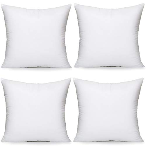 Fantastic Deal! MoonRest 4 Pack Synthetic Down Square Pillow Insert Form Sham Stuffing, 100% Down Al...
